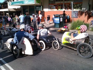 Lining up for the start of the Bangalow Billy Cart Derby