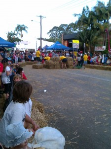Straw bale landing at the finish of the race
